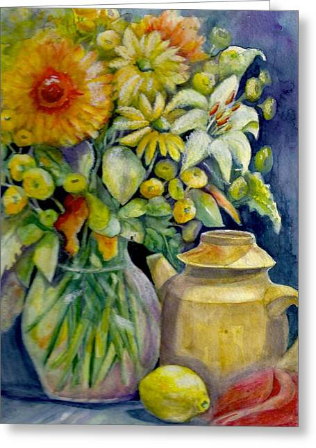 Tea Pot And Flowers Greeting Card by KC Winters