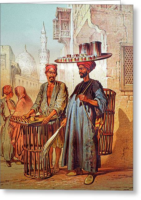 Greeting Card featuring the photograph Tea Seller by Munir Alawi
