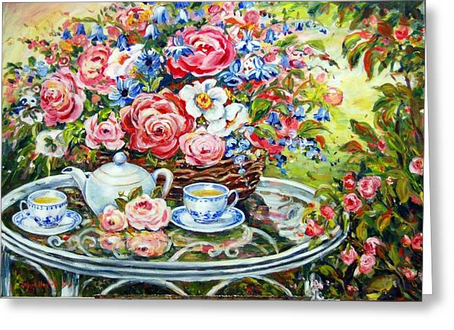 Tea Service Greeting Card by Alexandra Maria Ethlyn Cheshire