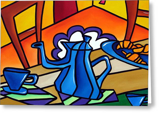Tea Time - Abstract Pop Art By Fidostudio Greeting Card by Tom Fedro - Fidostudio