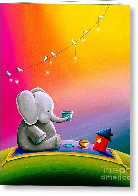Tea Time Greeting Card by Cindy Thornton