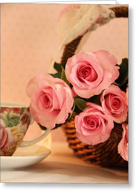 Tea Time Roses Greeting Card