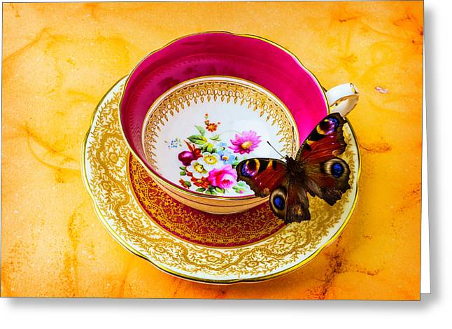 Tea Time With Butterfly Greeting Card by Garry Gay