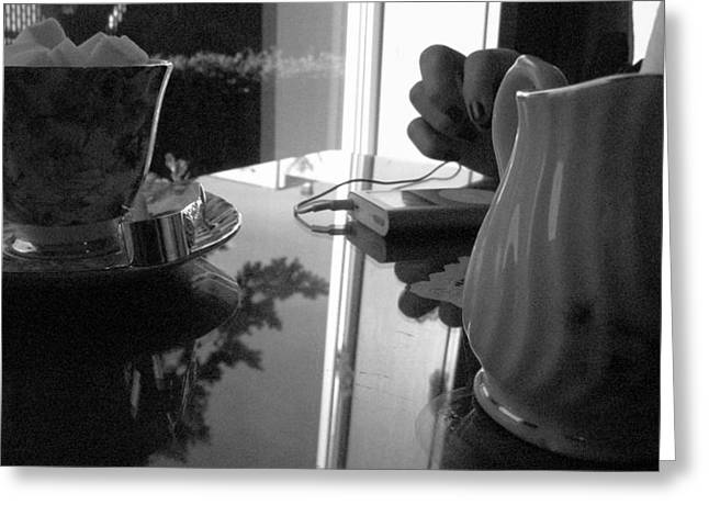 Tea Time With Music Greeting Card by Michael Lee