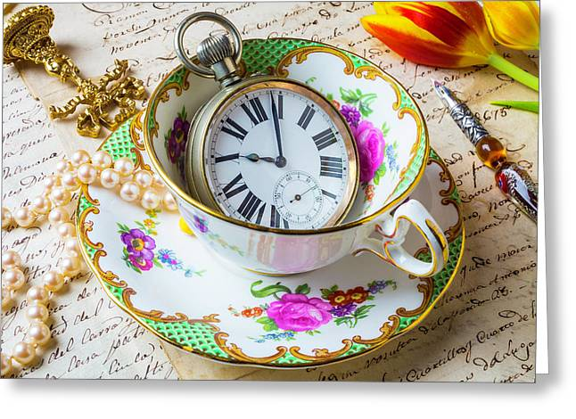 Tea Time With Pearls Greeting Card by Garry Gay