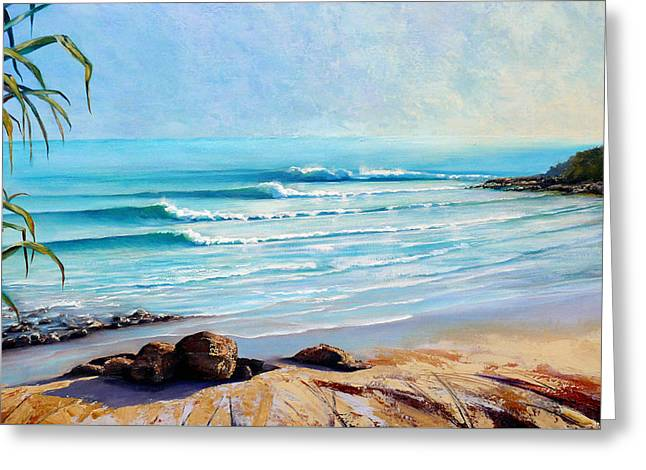 Greeting Card featuring the painting Tea Tree Bay Noosa Heads Australia by Chris Hobel