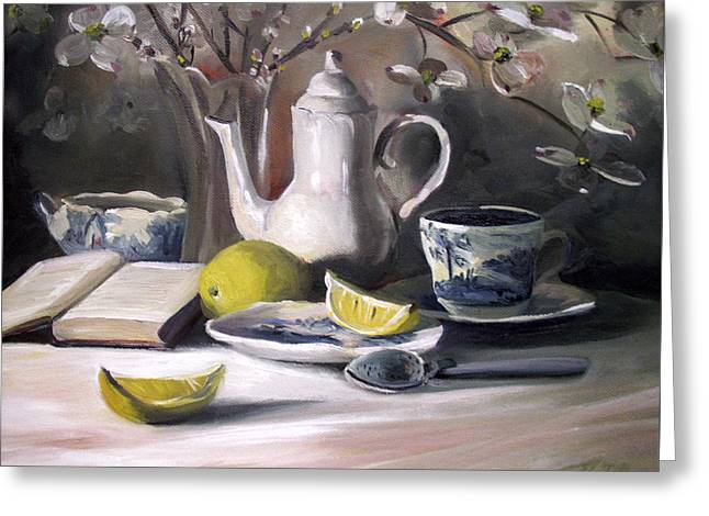 Greeting Card featuring the painting Tea With Lemon by Nancy Griswold