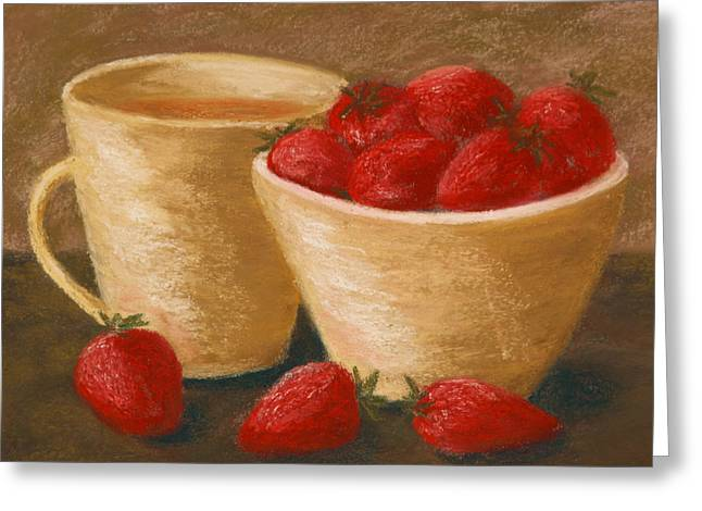 Tea With Strawberries Greeting Card by Cheryl Albert