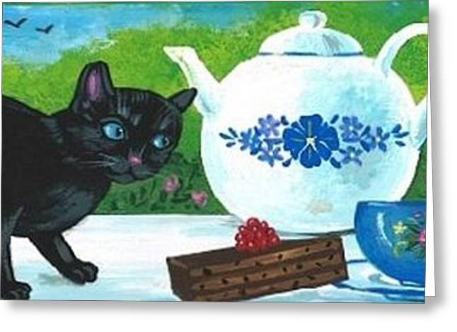 Tea With The Ladies Greeting Card by Margaryta Yermolayeva