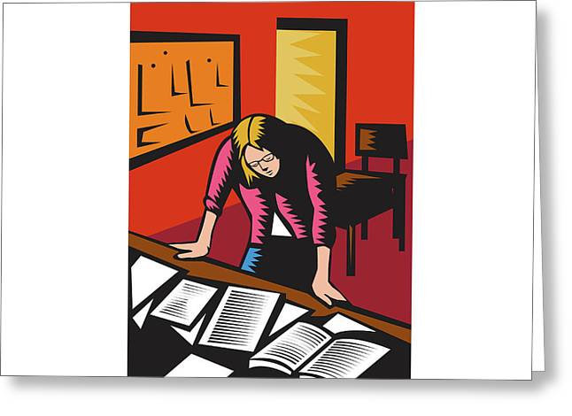 Teacher Depressed Table Classroom Woodcut Greeting Card by Aloysius Patrimonio