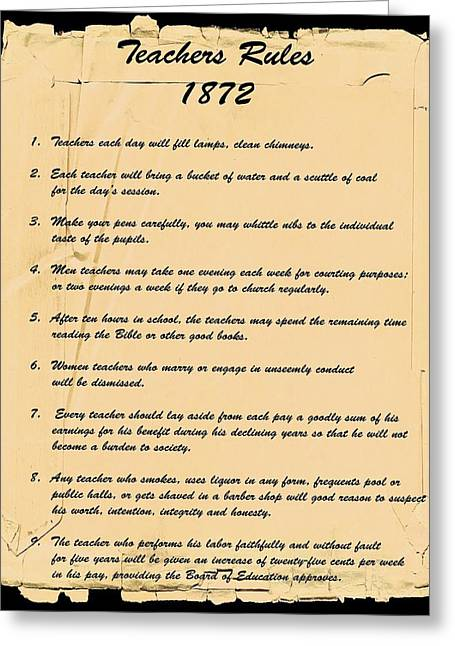 Teachers Rules 1872 Greeting Card