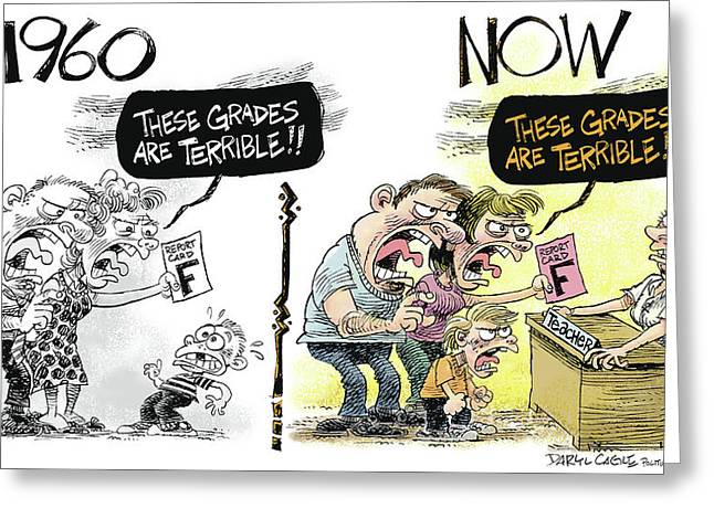 Teachers Then And Now Greeting Card