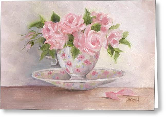 Greeting Card featuring the painting Teacup And Saucer Rose Shabby Chic Painting by Chris Hobel