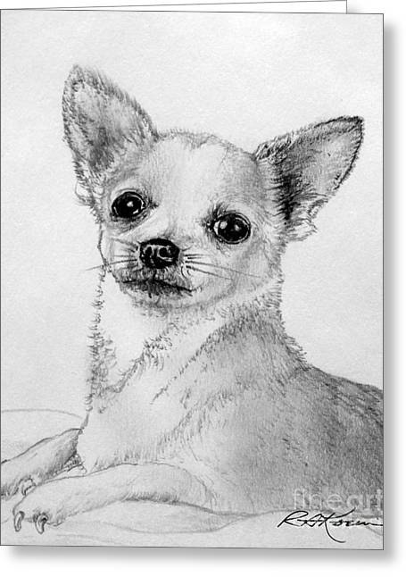 Teacup Chihuahua Greeting Card by Roy Anthony Kaelin