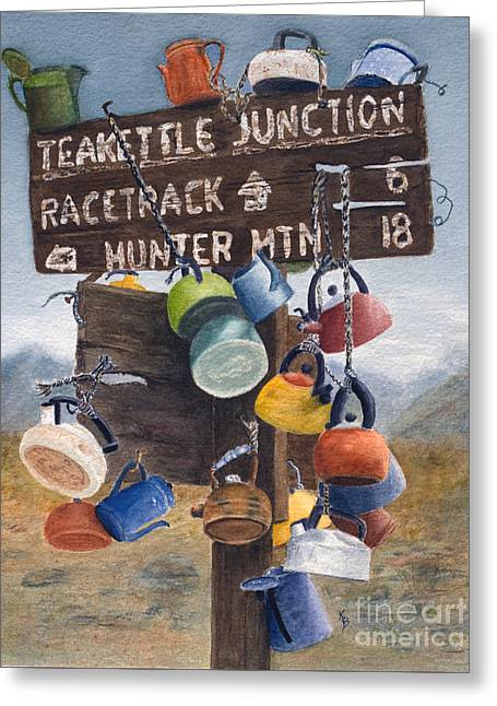 Teakettle Junction Greeting Card by Karen Fleschler