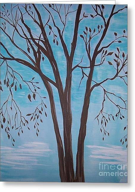 Greeting Card featuring the painting Teal And Brown by Leslie Allen