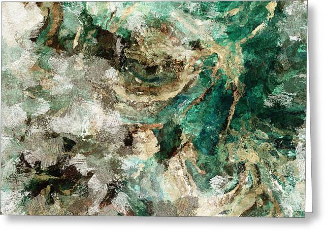 Greeting Card featuring the painting Teal And Cream Abstract Painting by Ayse Deniz