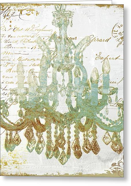 Teal And Gold Chandelier Greeting Card by Mindy Sommers