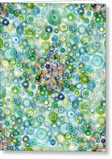 Teal And Olive Concavity Greeting Card by Regina Valluzzi