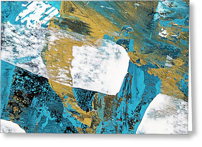 Teal Blue Abstract Painting Greeting Card by Christina Rollo