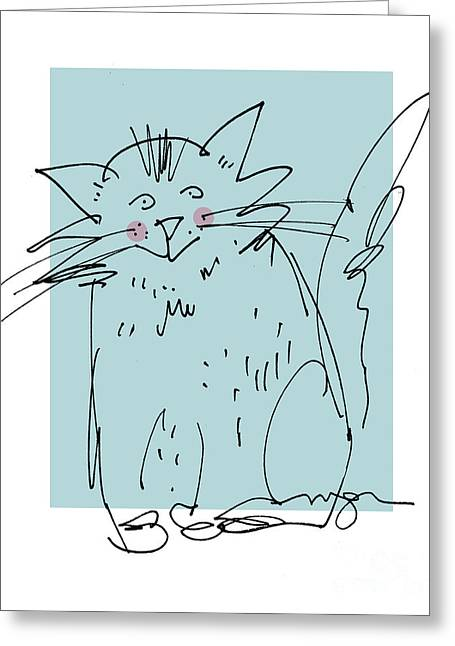 Teal Cat Greeting Card