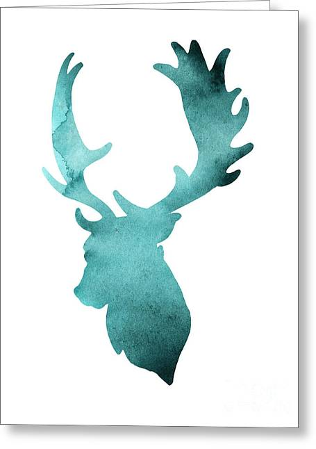 Teal Deer Watercolor Painting Greeting Card by Joanna Szmerdt
