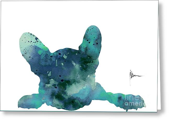 Teal Frenchie Minimalist Painting Greeting Card by Joanna Szmerdt