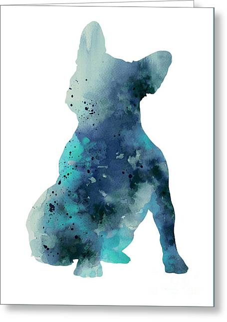 Teal Frenchie Watercolor Minimalist Painting Greeting Card