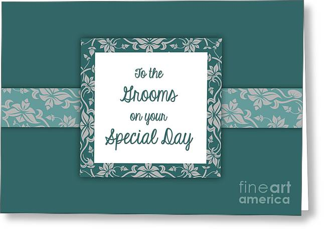 Teal Grooms Deco Greeting Card