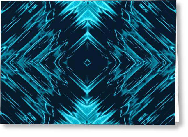 Teal Kaleidoscope On Black Background Greeting Card
