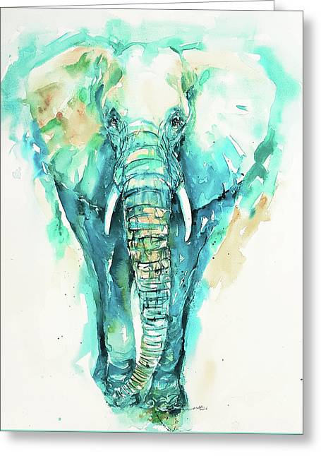 Teal N Turquoise Elephant Greeting Card
