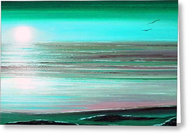 Teal Panoramic Sunset Greeting Card by Gina De Gorna