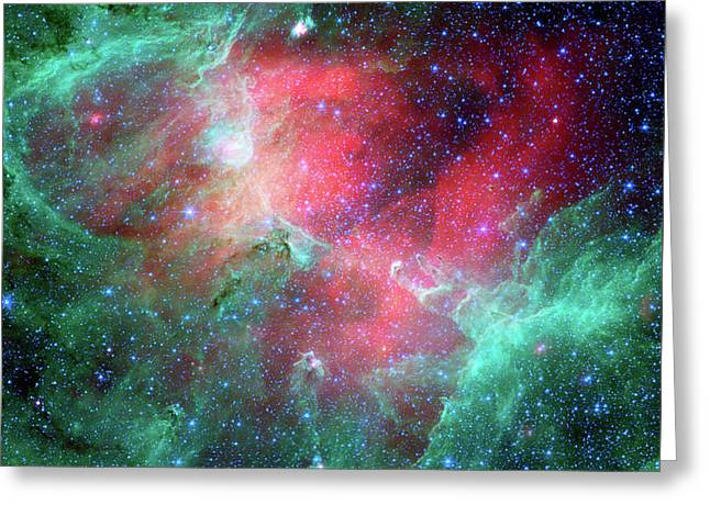 Teal, Pink, Eagle Nebula, Astrophysics, Astronomy, Space Greeting Card by Tina Lavoie
