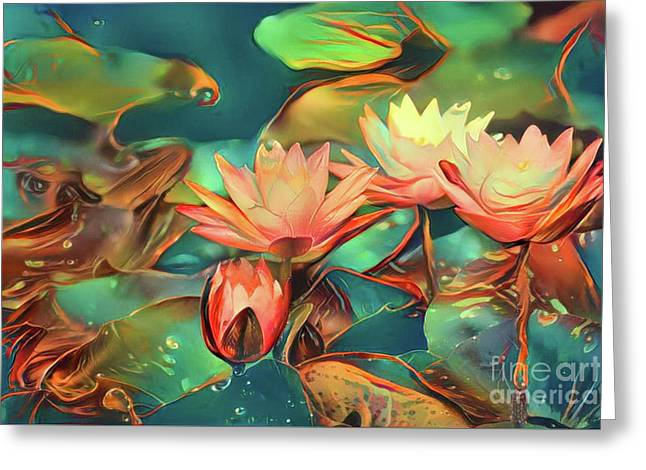 Teal Waterlilies 6 Greeting Card