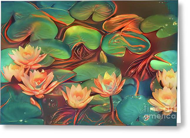 Teal Waterlilies 7 Greeting Card by Amy Cicconi