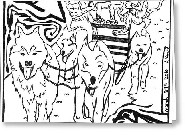 Team Of Monkeys Dog Sled Maze Greeting Card by Yonatan Frimer Maze Artist