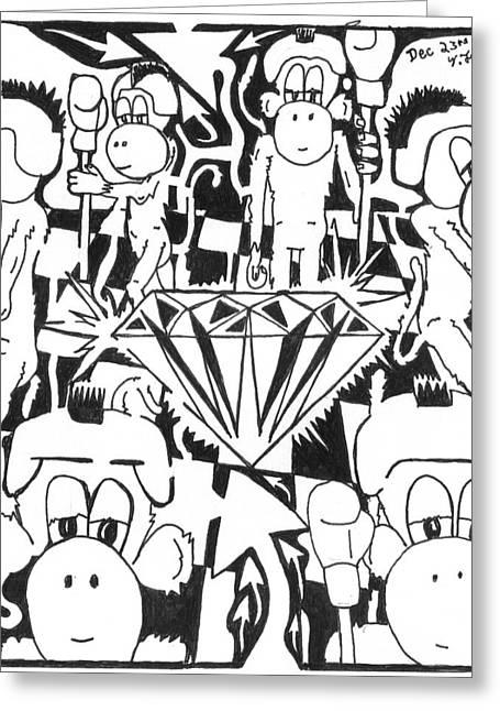 Team Of Monkeys Guarding The Crystal Maze Greeting Card by Yonatan Frimer Maze Artist