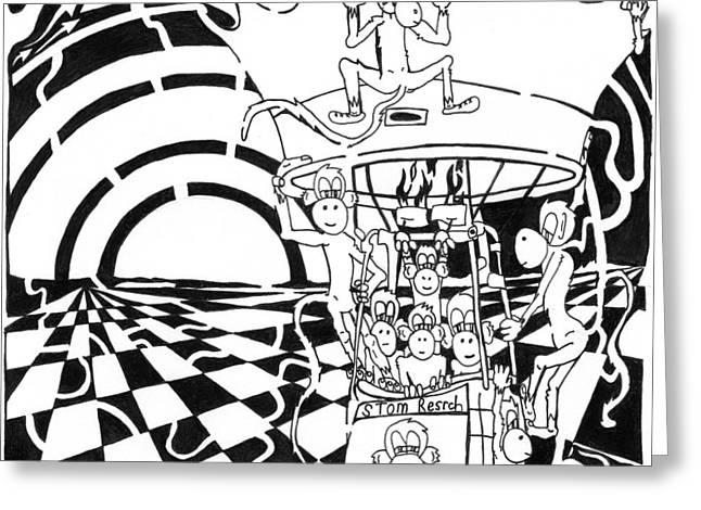 Team Of Monkeys Maze Comic Hot Air Balloon Greeting Card by Yonatan Frimer Maze Artist