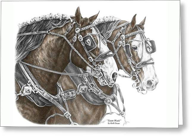 Team Work - Clydesdale Draft Horse Print Color Tinted Greeting Card
