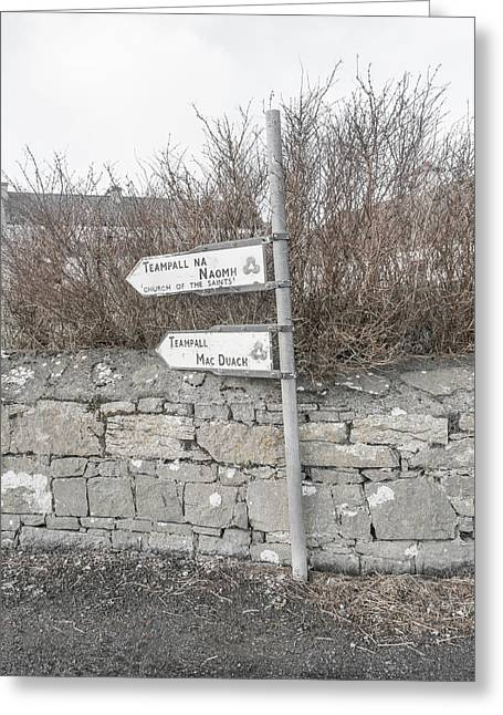 Teampall Sign Inis Mor Ireland Greeting Card