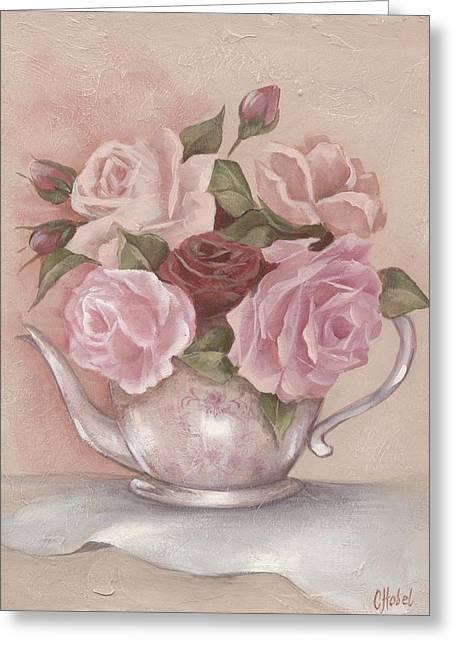 Teapot Roses Greeting Card by Chris Hobel