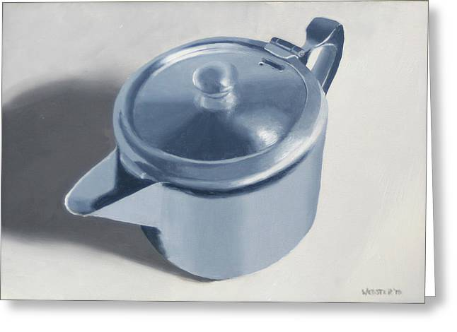 Teapot Still Life Oil Painting Greeting Card by Mark Webster