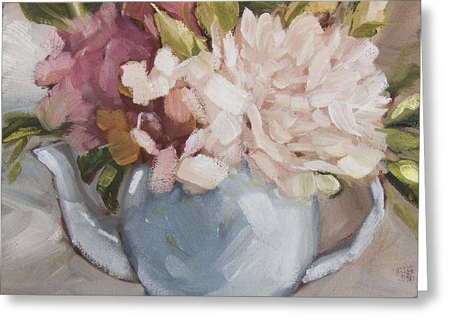 Teapot With Peonies Greeting Card