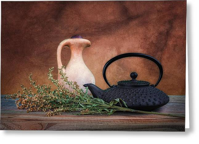 Teapot With Pitcher Still Life Greeting Card by Tom Mc Nemar