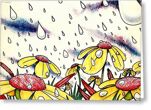 Tear Drawings Greeting Cards - Tears From Above Greeting Card by Cristophers Dream Artistry