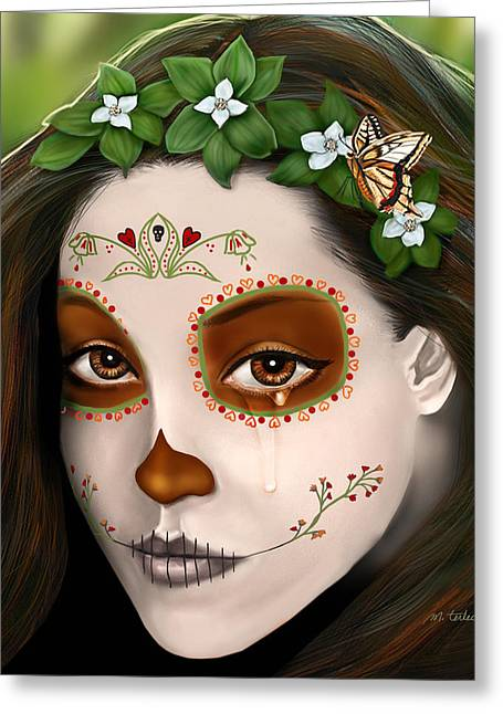 Teary Eyed Day Of The Dead Sugar Skull  Greeting Card