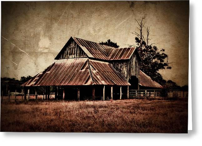 Teaselville Texas Barns Greeting Card by Julie Hamilton