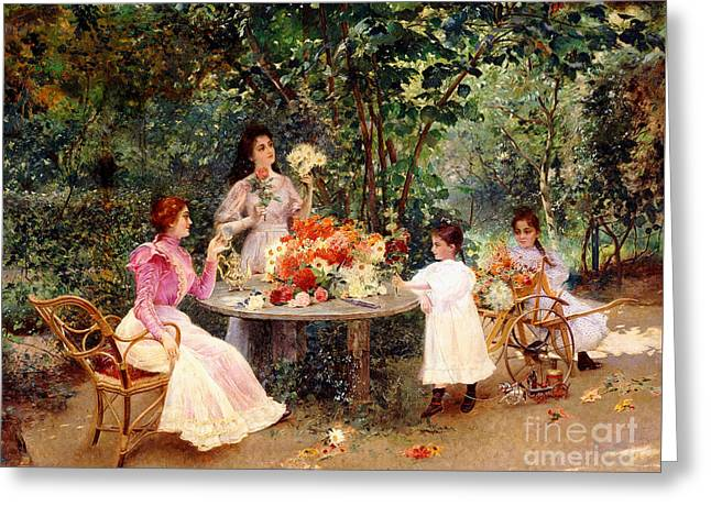 Teatime In The Garden Greeting Card by Edouard Frederic Wilhelm Richter