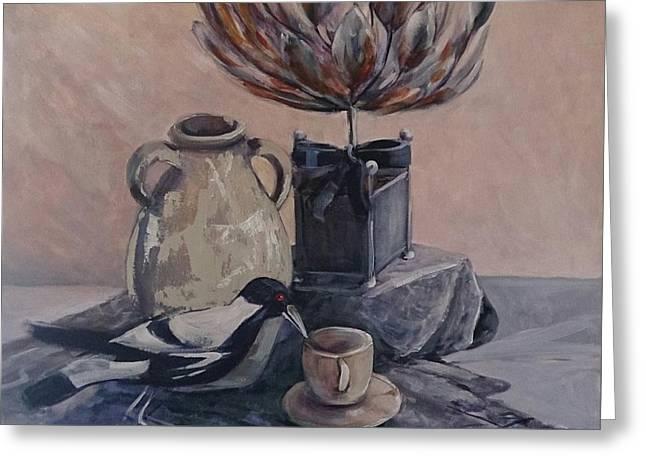 Teatime With Maggie Greeting Card by Kathy  Karas