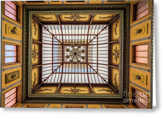 Teatro Juarez Ceiling Greeting Card by Inge Johnsson
